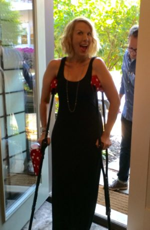 Cindy Simmons of Surviving Mommy with Minnie Dot Crutchwear