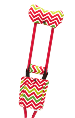 CastCoverz Christmas Chevron Red Crutches for Broken Leg